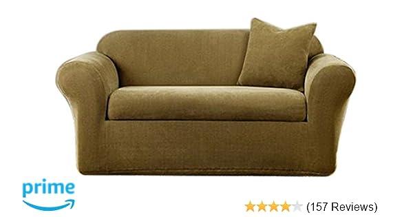Amazon Com Surefit Stretch Metro 2 Piece Sofa Slipcover Brown