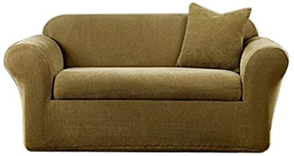 Sure Fit Stretch Metro 2 Piece   Sofa Slipcover   Brown (SF39416)