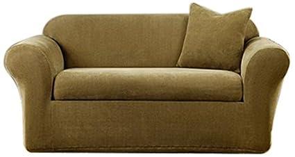 Delightful Sure Fit Stretch Metro 2 Piece   Sofa Slipcover   Brown (SF39416)