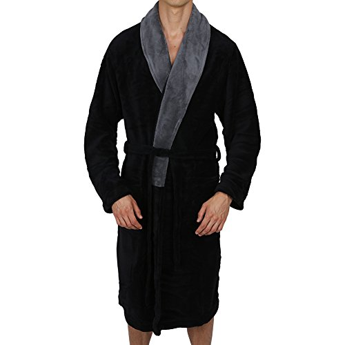 Regency New York Coral Fleece Robe Black Grey Collar -
