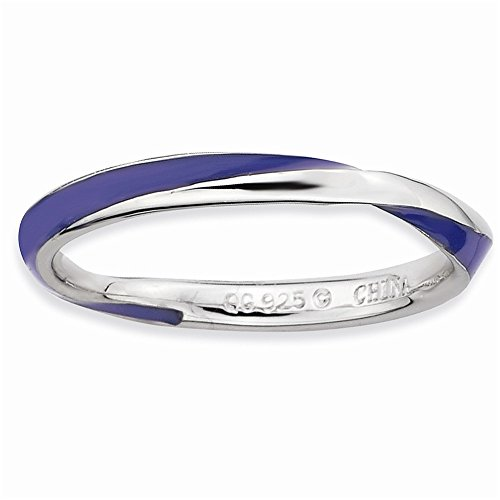[Sterling Silver Twisted Purple Enameled Ring by Stackable Expressions, Best Quality Free Gift Box] (Twisted Stackable Sterling Silver Ring)
