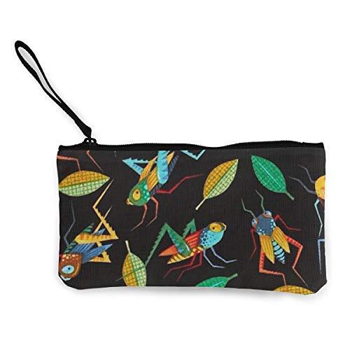 - Grasshopper Coin Purse Travel Makeup Pencil Pen Case With Handle Cash Canvas Zipper Pouch 4.7