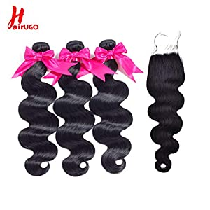 HairUGo Body Wave Bundles with Closures (14 16 18 + 12 inch) Brazilian Virign Human Hair 3 Bundles with Closures 100…