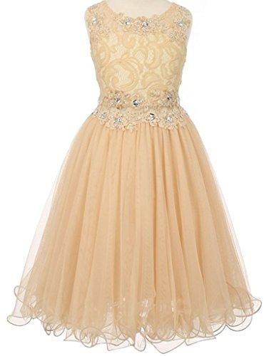 Little Girls Sleeveless Rhinestone Lace Peekaboo Waist Pageant Flower Girl Dress Champagne 6 (C50C10) ()