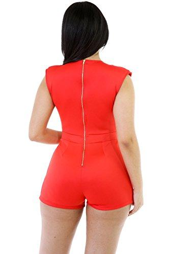 Neue Damen Orange plungng V-Ausschnitt Strampler Spielanzug Club Wear Sommer Festival tragen Größe UK 12EU 40