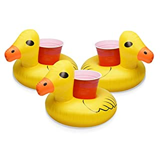 GoFloats Inflatable Pool Drink Holders (3 Pack) Designed in the US | Huge Selection from Unicorn, Flamingo, Palm and More | Float Your Hot Tub Drinks In Style, Rubber Duck