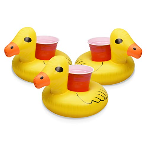 (GoFloats Inflatable Pool Drink Holders (3 Pack) Designed in the US | Huge Selection from Unicorn, Flamingo, Palm and More | Float Your Hot Tub Drinks In Style!)