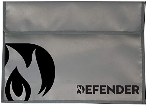 Defender Fireproof and Water Resistant Document Bag | Silicone Coated Fiberglass Non-Itchy | Velcro Closure to Keep Valuables Protected | Large 11''x15'' Size for Legal Documents, Currency, Photos, Tabl by Defender