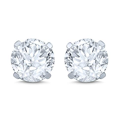 14k White Gold Diamond Stud Earr...