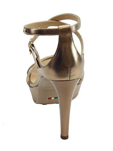Laminato Pelle NeroGiardini con Oro Sandali Sandalo Tacco Spillo Colore a in q4aw8ga