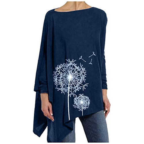 Lutos Women Round Neck Long Sleeve Taraxacum Print Asymmetrical Hemline Shirt Tops Navy