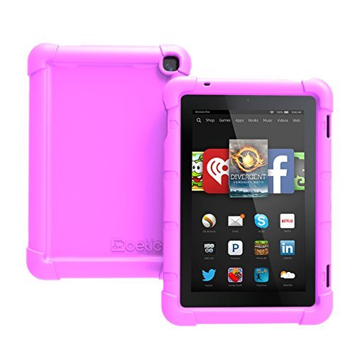 Fire HD 7 (2014 Model) Case - Poetic Fire HD 7 Case [Turtle Skin Series] - [Corner/Bumper Protection] [Grip] [Sound-Amplification] Protective Silicone Case for Amazon Fire HD 7 (2014 Model) 4th Gen Only - Purple , Will Not Fit Fire 7