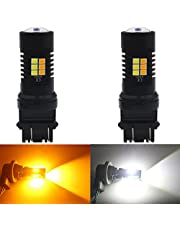 ALOPEE 2-Pack 3157 3155 3457 4157 White/Amber Switchback LED Bulb- Super Bright- 24-SMD with Projector Lens, Xenon White for Daytime Running Light/Parking Light, Yellow for Turn Signal Blinkers