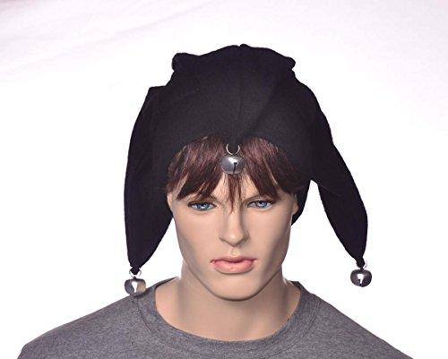 Solid Black Jester Hat with Bells Made of (Renaissance Juggler Costume)