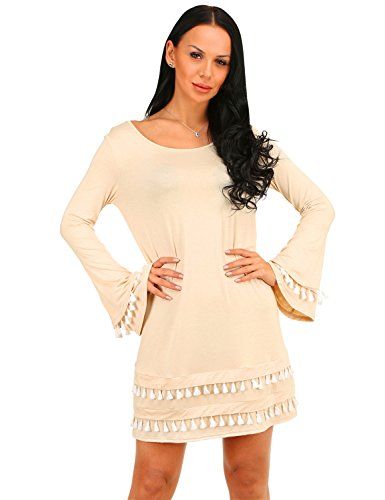 Scoop Neck Apricot Women's Tunic Amoluv Raglan Flare Dress Casual Sleeve wqIOaxPB