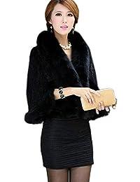 YR Love Women's Real Mink Fur Cape Shawl Stole Jacket&Fox Fur Collar