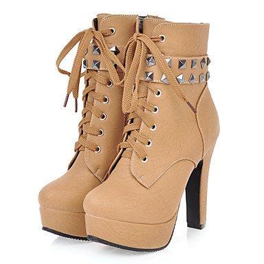 Heart&M Damen Schuhe PU Herbst Winter Komfort Neuheit Modische Stiefel Stiefeletten Stiefel Blockabsatz Spitze Zehe Booties Stiefeletten Niete yellow