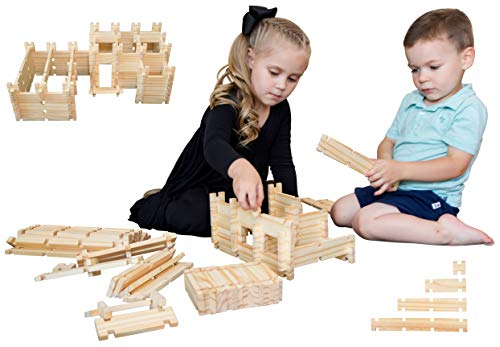 Freedom Logs Wood Toy Building Blocks Set - Best Educational Wooden Construction Play Kit for Boys, Girls, and Kids Age 3+ Includes 75 Block Pieces That Link Learning and Creativity