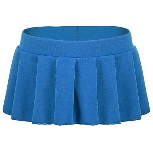 Avidlove Sexy Role Play Pleated Solid Mini Skirt Lingerie Sleepwear Blue