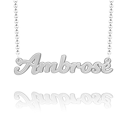 Infinite Memories Ambrose Name Necklace Child Charm Create My own Ghetto Letter Real Gold ()