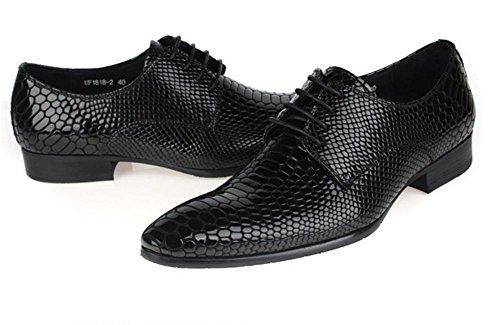 Hommes Entreprise Cuir Chaussures Peau de serpent Modèle Lacer Printemps Robe Noir Pointu Faible Unique Décontractée Oxfords Appartement Taille 38-44 Black AHgZaz7d
