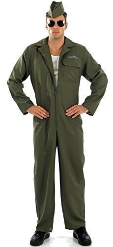 Mens WW1 WW2 Aviator Army Armed Forces + Sunglasses & Airforce Hat Fancy Dress Costume Outfit M-XL (Extra Large) Green]()