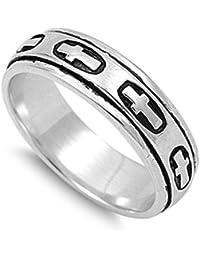 Sterling Silver Plain Polished Religious Cross Spinner Ring