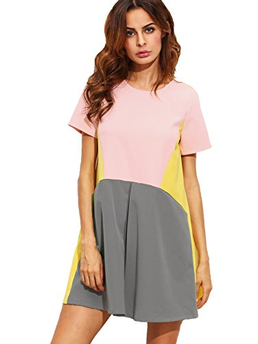 SheIn Women's Cute Short Sleeve Pockets Color Block Casual Swing Tunic Dress Medium Mulitcolor (Best Way To Lose 150 Pounds)