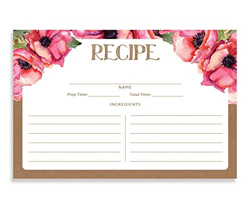Pink Floral and Kraft Recipe Cards (Set of 25) 4x6 inches. Double Sided Card Stock Recipe Card Set | Leona Kraft