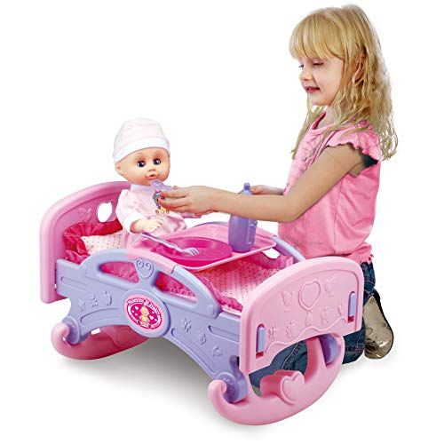 Liberty Imports Mommy & Baby My First Rocking Bed for Dolls | Baby Cradle Toy Furniture and Play Accessories | Fits 14