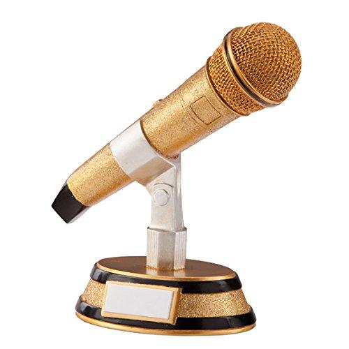 Gold Microphone Karaoke Trophies