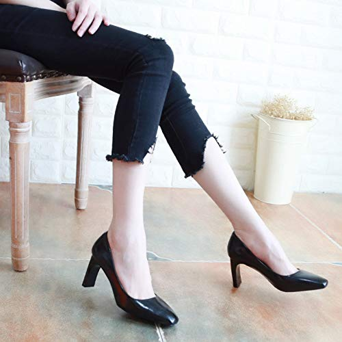 7Cm KPHY Simple Autumn Shoes Women'S Head Thirty Seven Heel Shoes Black Square Thick Heel Thin Shoes High Sexy Shallow Mouth wRIrBR