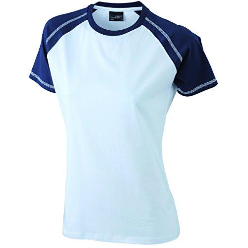 JAMES & NICHOLSON - Camiseta - Básico - Manga corta - para mujer Blanc et marine