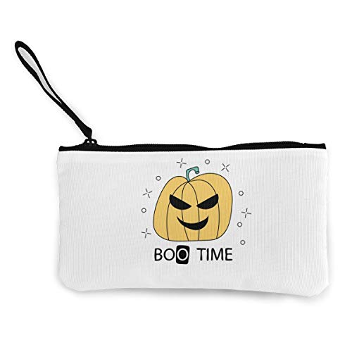 Canvas Pencil Case - Boo Time Durable Cosmetic Makeup Bag Zipper Closure Coin Purse Wallet Phone Pouch with Handle for Kids Adults]()