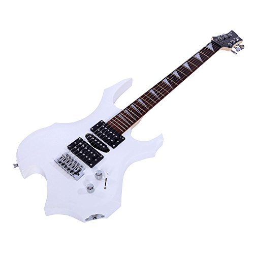 Ryokozashi 36 Inch Beginner Electric Guitar Starter Kit, Kids Flame Electric Guitar with 5 Pickup Adjustment, Equipped with Tremolo Bridge System and Many Accessories (Black) (White)
