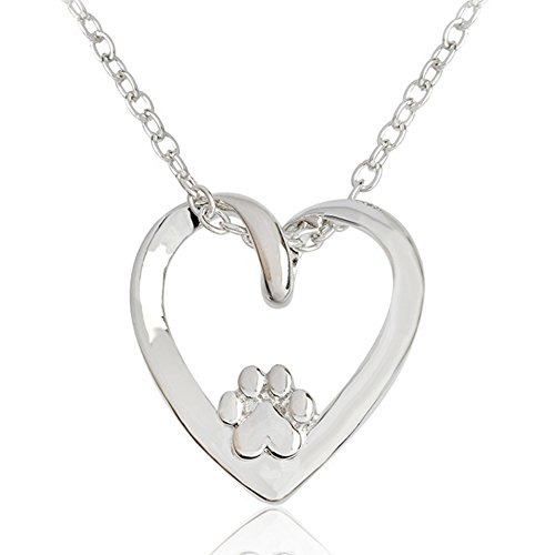 Love Puppy Dog Paw with Love Heart Pendant Necklace Great Gifts for Womens Girls Friends