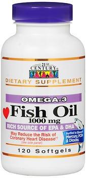 21st Century Omega-3 Fish Oil 1000 mg Softgels 120 Soft Gels (Pack of 3)