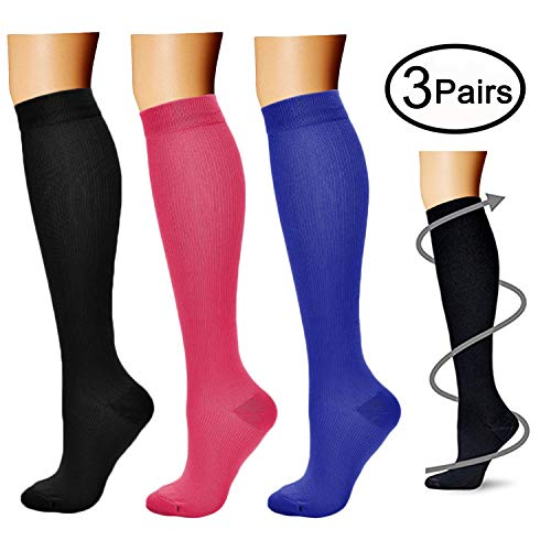 Compression Socks (3 Pairs), 15-20 mmhg is BEST Athletic & Medical for Men & Women, Running, Flight, Travel, Nurses - Boost Performance, Blood Circulation & Recovery (Large/X-Large, Black+Red+Blue) -
