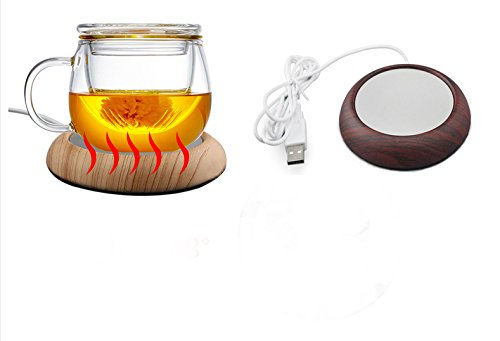 Mug Warmer USB Cup Heater Wood Grain Warmer Milk Tea Beverage Warmer Coaster Perfect for Home and Travel(158-176℉|70-80 ℃) (Deep wood grain)