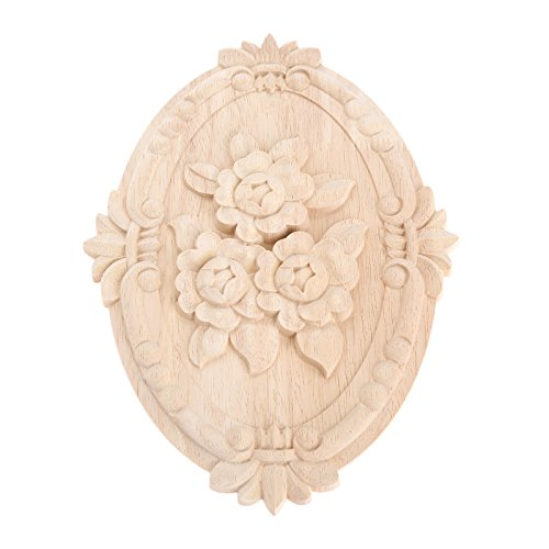 Wood Carved Applique Frame Onlay Unpainted Furniture Decoration Unpainted Oval Patterns 30x22cm