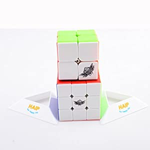 Puzzle Cube, Haip Cyclone Boys 2x2x2 3x3x3 Stickerless Speed Cube Magic Cube Set (Base Holders Included)