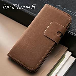 Soft Luxury PU Leather Case Wallet Flip Cover For iPhone 5 5S 5G New with Stand+Card Holder --- Color:deep brown