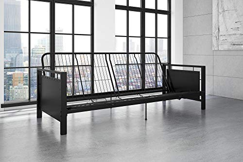 DHP Henley Metal Arm Futon Frame, Industrial Loft Design, Converts to Sleeper, Black Sturdy -
