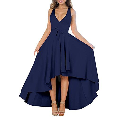 XIONGMEI Women's Sexy V Neck Sleeveless High Low Hem Cocktail Evening Party Dress (X-Large, Dark Blue) (Cocktail Evening Sexy Dress)