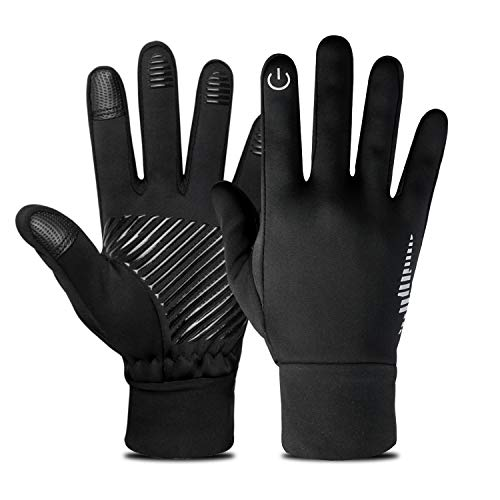 Nueve&Five Waterproof Winter Gloves for Men and Women, Touchscreen Enabled Windproof Gloves for Running, Cycling, Hunting-Black