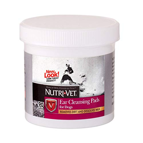 Nutri-Vet Dog Ear Cleaner Wipes Removes Dirt Wax 90 Count Ear Cleansing Pads Dogs ()