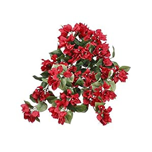 "Afloral Red Bougainvillea Silk Flower Hanging Bush - 24"" Long 55"