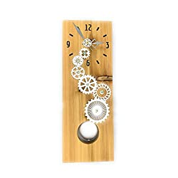 Cedar Pendulum Wall Clock with Gear Stack, Wood Wall Art, Long Wall Clock, Pendulum Clock