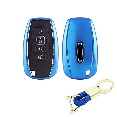 (Royalfox(TM) 3 4 5 Buttons TPU Smart keyless Entry Remote Key Fob case Cover Keychain for 2017 2018 2019 Lincoln Continental MKC MKZ Navigator (Blue) )
