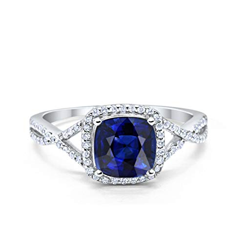 Halo Infinity Shank Engagement Ring Cushion Simulated Blue Sapphire Round Cubic Zirconia 925 Sterling Silver, Size-5 ()